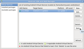 Android SDK and AVD Manager画面 AVDがある