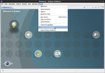 Welcome to Eclipseの画面 チュートリアル等のアイコンが画面上にある