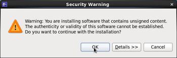 セキュリティの警告画面