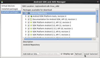 Android SDK and AVD Manager画面 SDKプラットフォーム選択