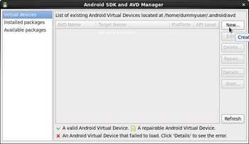 Android SDK and AVD Manager画面 Virtual Device